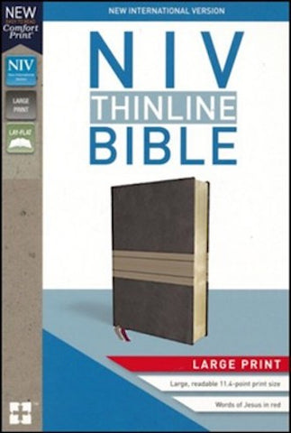NIV Thinline Bible Large Print (Leathersoft, Brown/Tan)