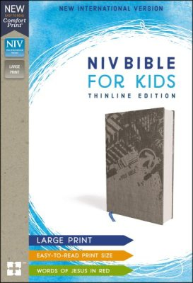 NIV Bible for Kids Thinline Edition Large Print (Comfort Print, Hardcover, Cloth-over-Board, Gray)