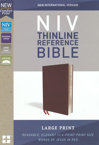 NIV Thinline Reference Bible (Large Print, Bonded Leather, Burgundy)