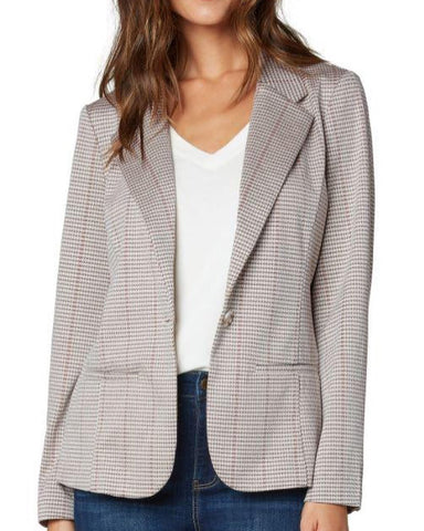 tan liverpool blazer over a white v-neck top and jeans on a 308 boutique model