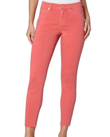 model from the 308 boutique wearing coral colored jeans from Liverpool