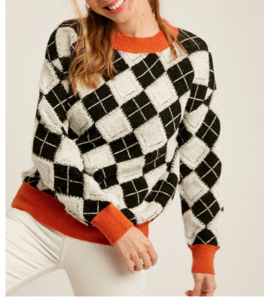 embossed argyle sweater from 308 boutique