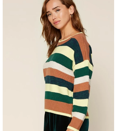 multi striped pullover sweater from the 308 boutique