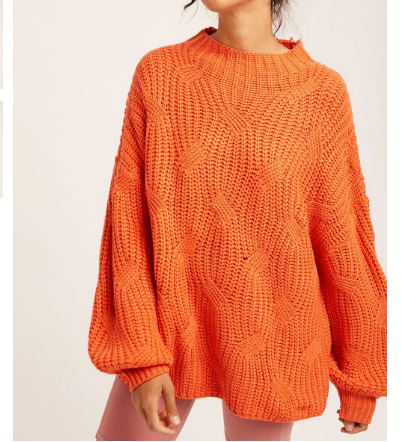 orange loose fit cable knit sweater from The 308 Boutique