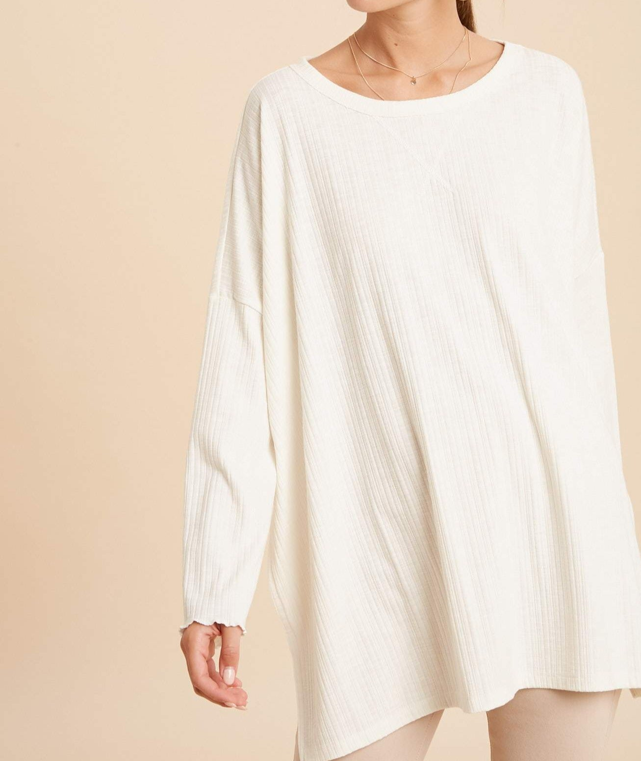 Oversize Ribbed Banded Neck Top