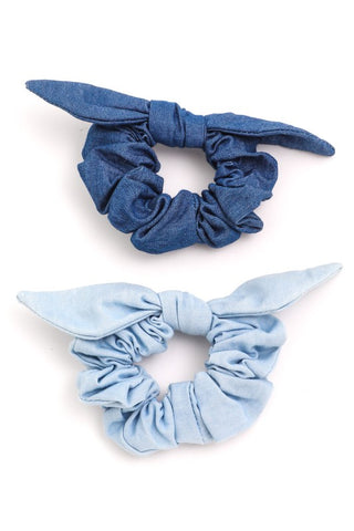 Jean Bow Hair Scrunchies