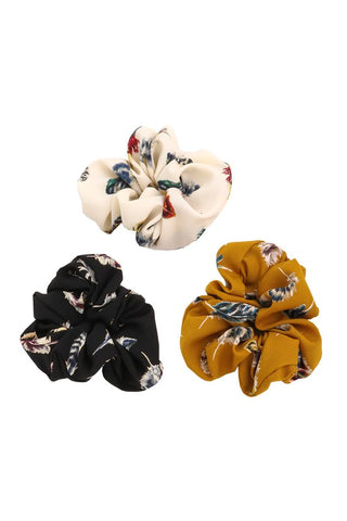 Feather Print Scrunchies - O/S - Multi