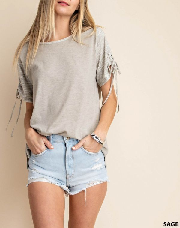 Heathered Cinch Sleeve Top
