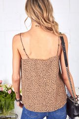 Animal Print Lace Trim Cami