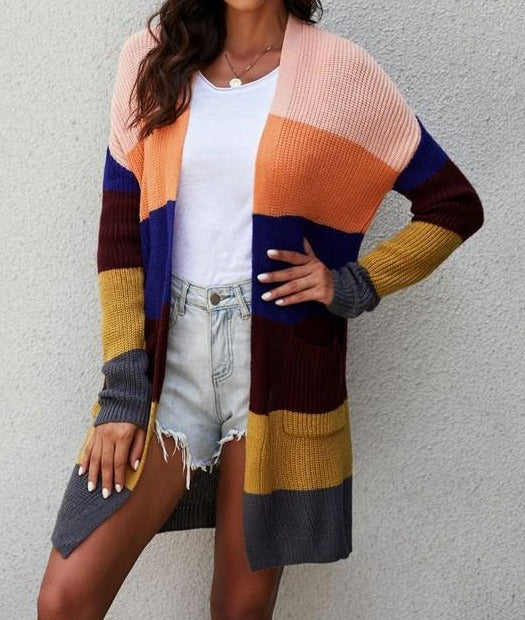 Cozy Knit Pocketed Open Cardigan
