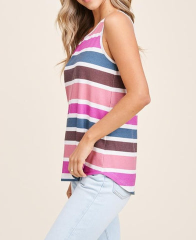 Round Neck Sleeveless Print Top