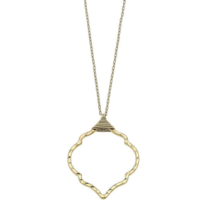 Chain Wrapped Quatrefoil Pendant Necklace