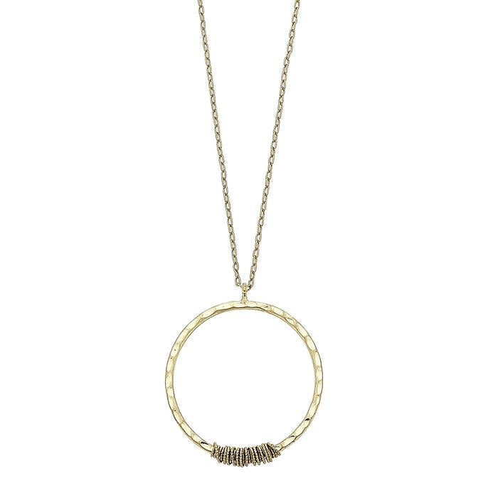 Chain Wrapped Circle Pendant Necklace