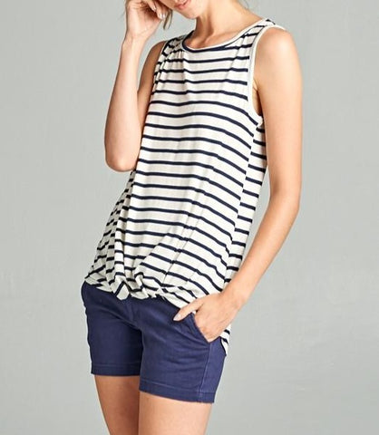 Gathered Front Striped Top