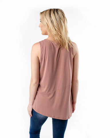 Sandwashed Side Tie Sleeveless Top