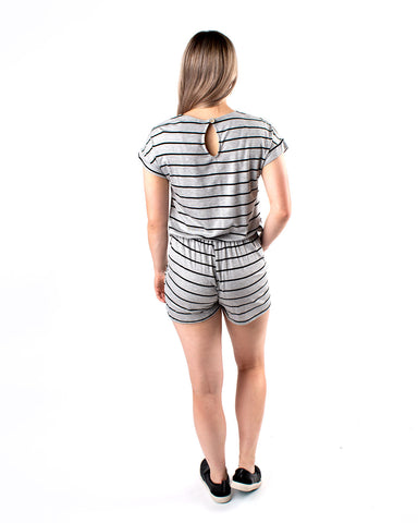 Striped Romper with Waist Tie and Pockets