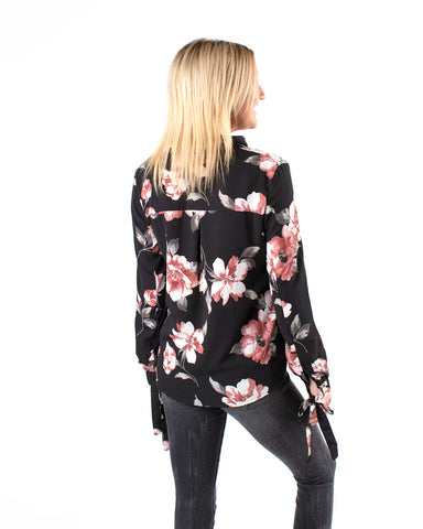 L/S Floral Button Down W/ Sleeve Ties