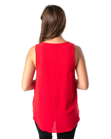 Solid Sleeveless V-Neck Top