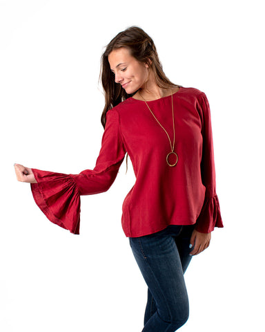 Round Neck Ruffle Bell Sleeve Top