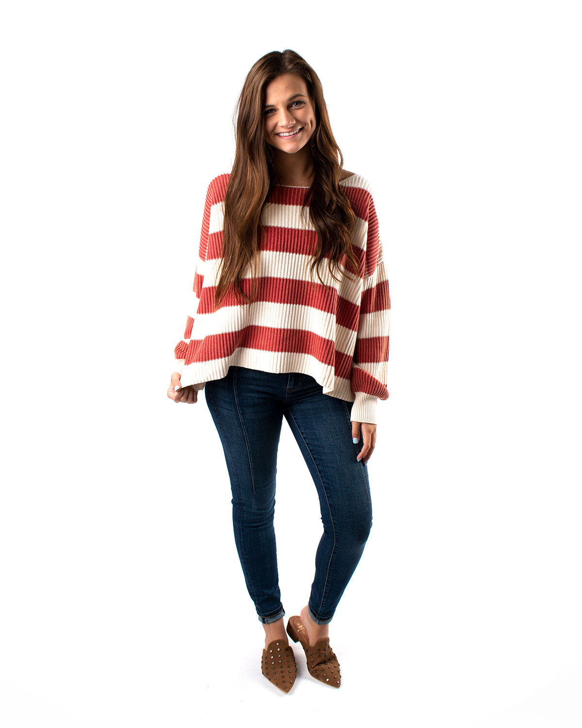 Oversized Rugby Off Shoulder Stripe Sweater