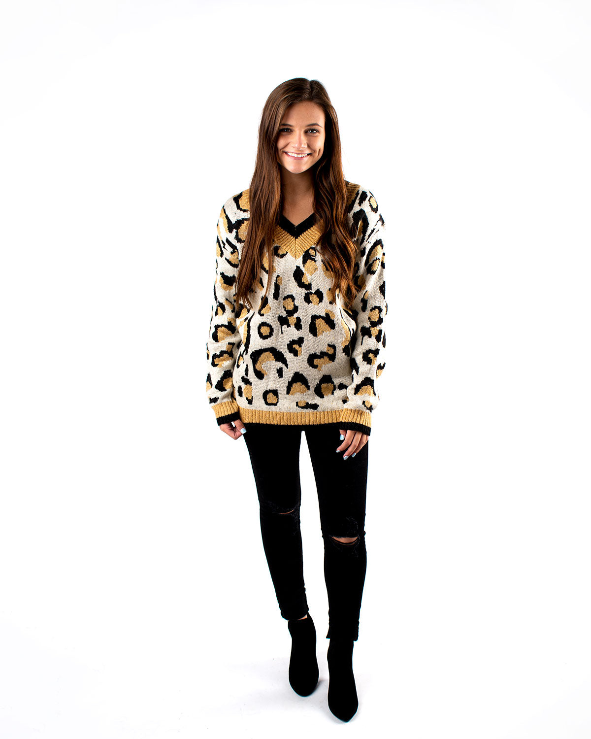 Trim Detail Leopard Sweater