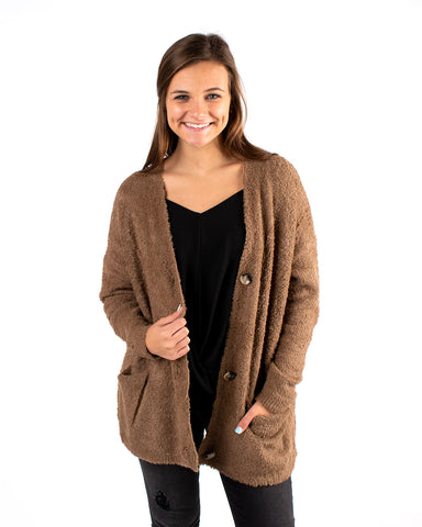 Fuzzy Soft Button Front Cardigan