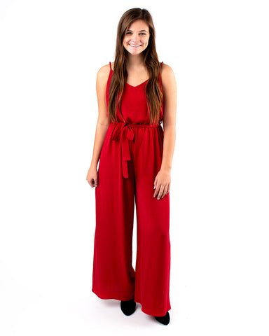 Solid Woven Smocked Back Bodice Jumpsuit