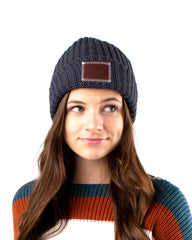 Leather Patched Cuffed Beanie