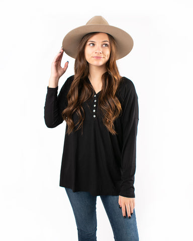 V-Neck Button Down Detail Long Sleeve Top