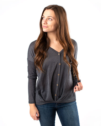Marled Pleated Henley