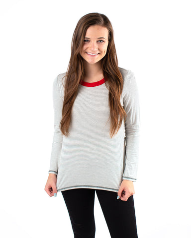 Long Sleeve Stripe Top with Contrast Neck Band