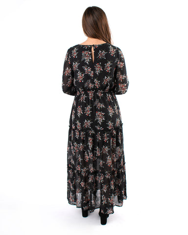 Chiffon Floral Tiered Hem Maxi Dress