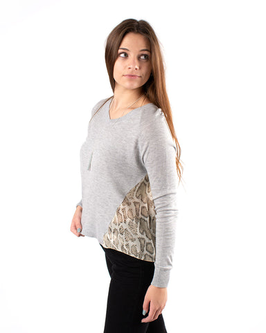 Snake Print Accented Sweater