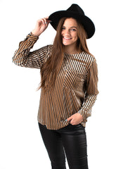 Kathleen Stripe Top W/ Pocket
