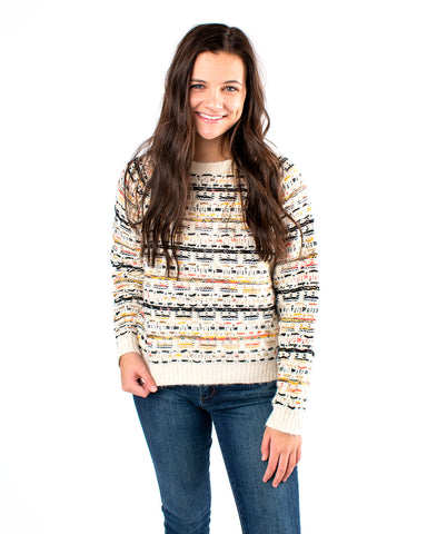 Multi Pattern Knit Sweater