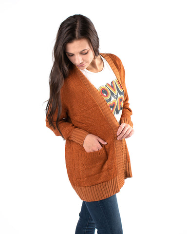 Rib Contrasted Open Front Cardigan