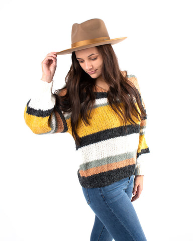 Multi Striped Color Block Knit Sweater