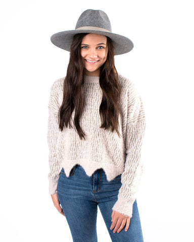 Knit Designed Fuzzy Sweater