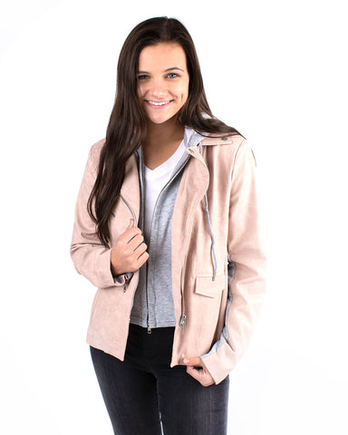 Faux Leather Hooded Blazer
