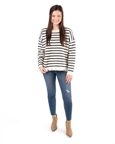 Knit Distressed Striped Sweater