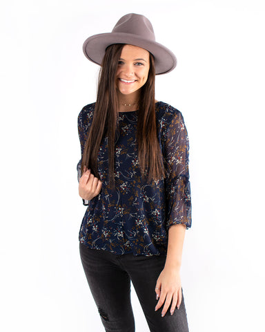 Ruffle Sleeve Ditsy Floral Blouse
