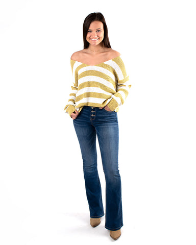 Knotted Back Stripe Pullover