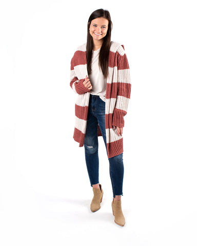 Wide Band Striped Hooded Cardigan