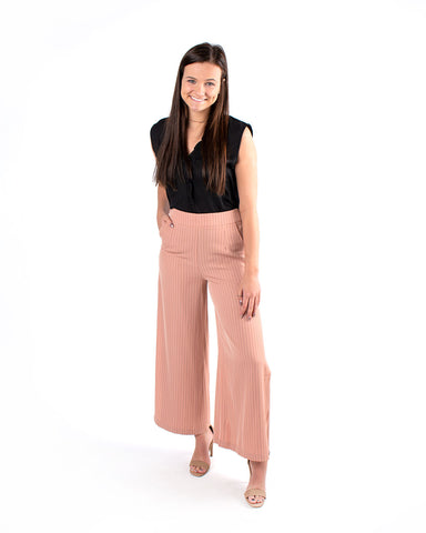 Pin Stripe Side Slit Trouser