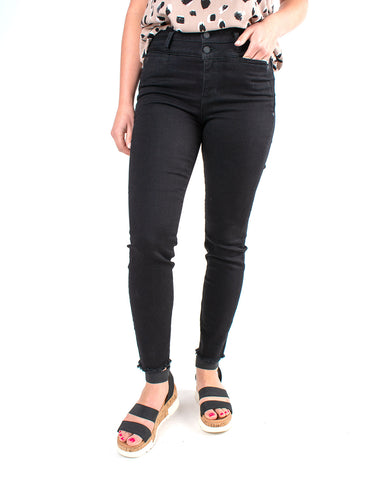 Double Waistband Ankle Fray Skinny