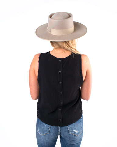 Black Button Back Solid Tank