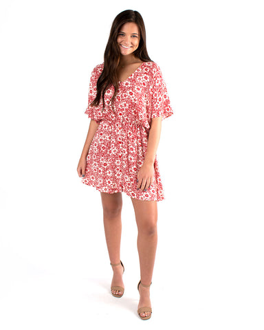 Floral Dolman Elastic Waist Dress
