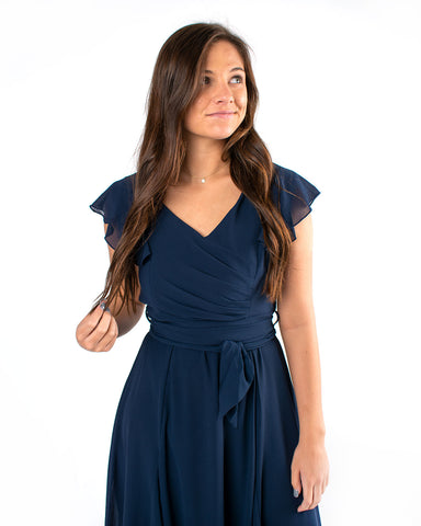 Butterfly Sleeve Ruched Midi Dress