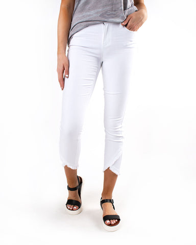 Liverpool Scallop Hem White Jean