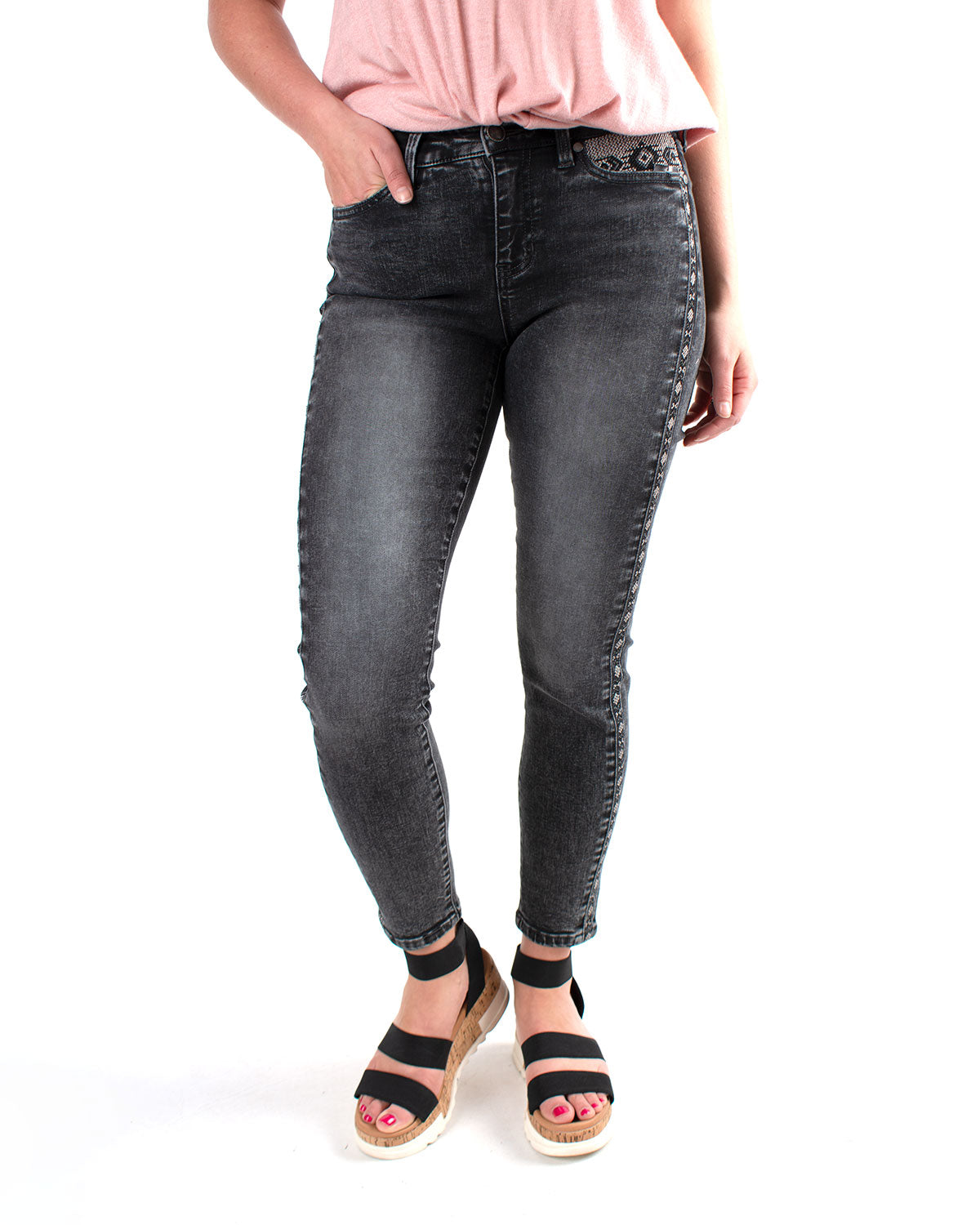 Abby Ankle Skinny Embroidered